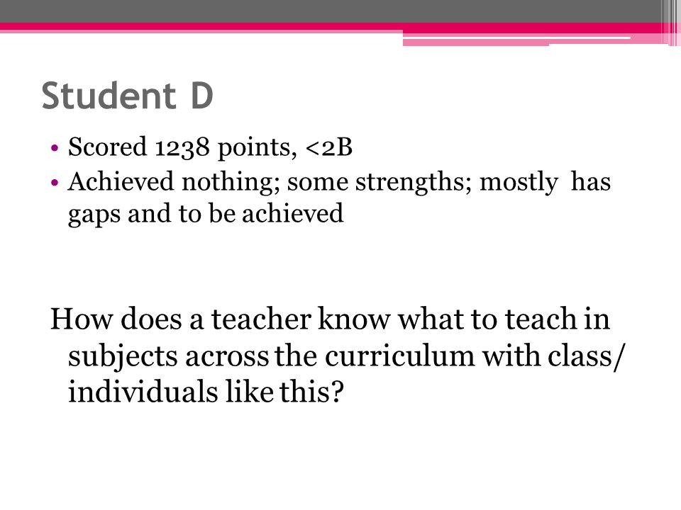 Student D Scored 1238 points, <2B Achieved nothing; some strengths; mostly has gaps and to be achieved How does a teacher know what to teach in subjec