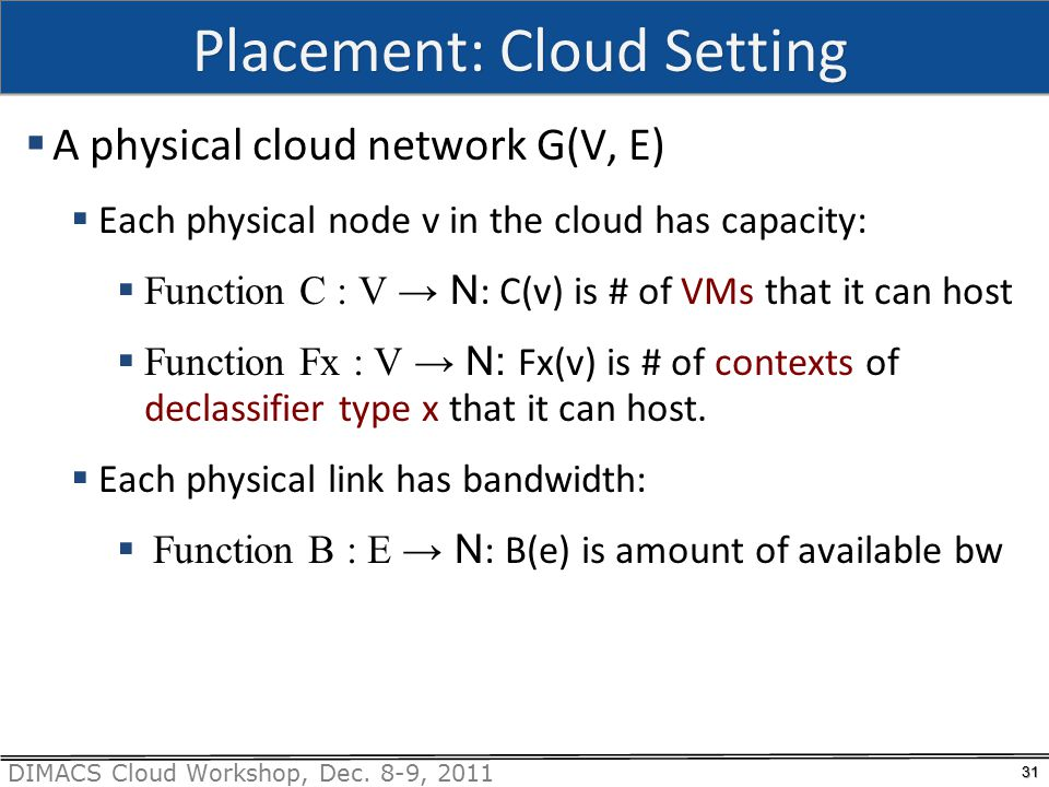 DIMACS Cloud Workshop, Dec. 8-9, 2011 Placement: Cloud Setting  A physical cloud network G(V, E)  Each physical node v in the cloud has capacity: 