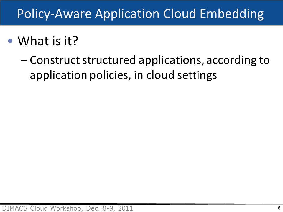 DIMACS Cloud Workshop, Dec.8-9, 2011 Why Worry about PACE.