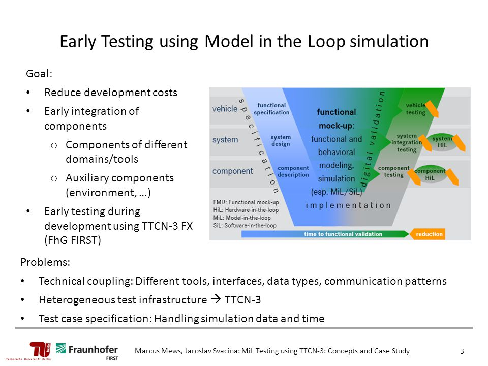 Goal: Reduce development costs Early integration of components o Components of different domains/tools o Auxiliary components (environment, …) Early testing during development using TTCN-3 FX (FhG FIRST) Early Testing using Model in the Loop simulation Marcus Mews, Jaroslav Svacina: MiL Testing using TTCN-3: Concepts and Case Study 3 Problems: Technical coupling: Different tools, interfaces, data types, communication patterns Heterogeneous test infrastructure  TTCN-3 Test case specification: Handling simulation data and time