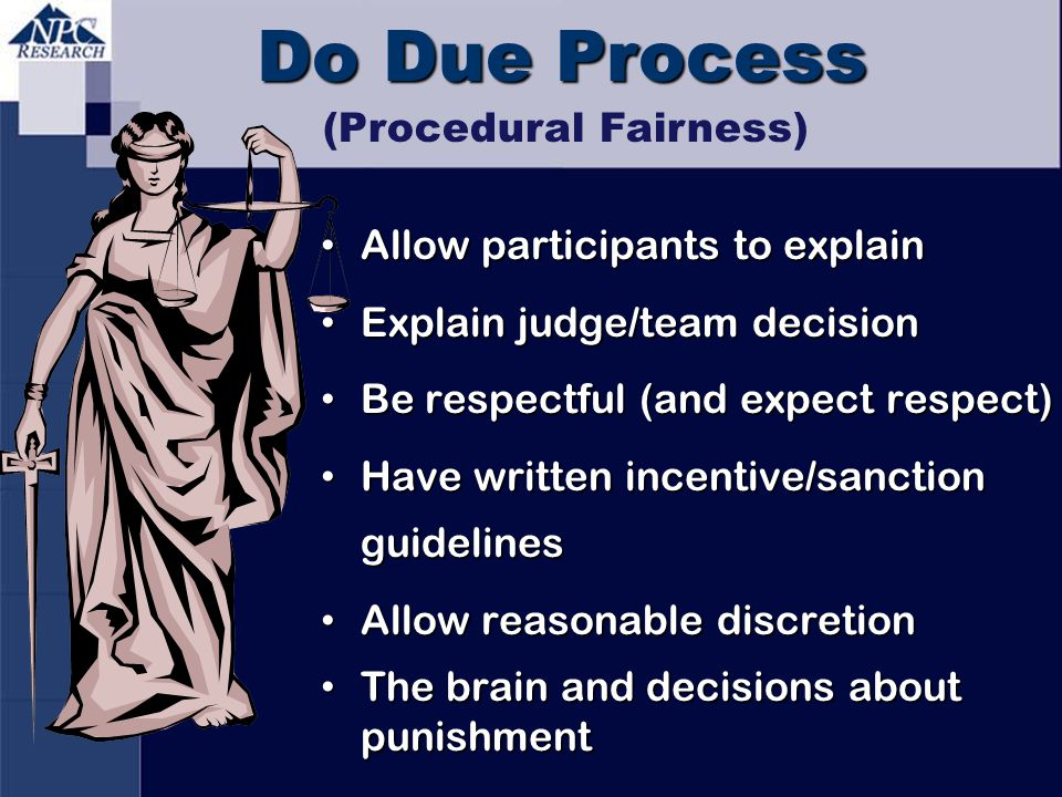 Do Due Process Allow participants to explain Allow participants to explain Explain judge/team decision Explain judge/team decision Be respectful (and