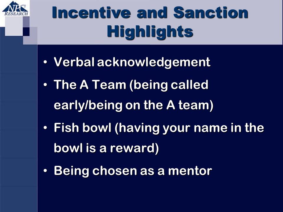 Incentive and Sanction Highlights Verbal acknowledgement Verbal acknowledgement The A Team (being called early/being on the A team) The A Team (being