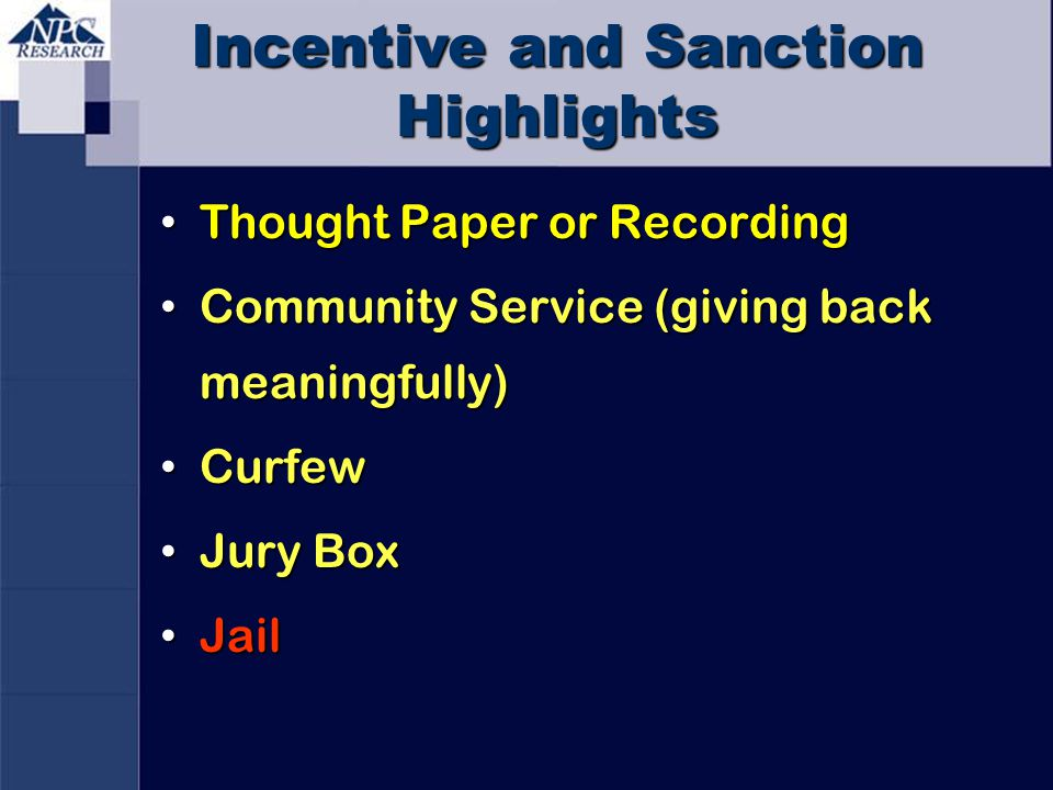 Incentive and Sanction Highlights Thought Paper or Recording Thought Paper or Recording Community Service (giving back meaningfully) Community Service