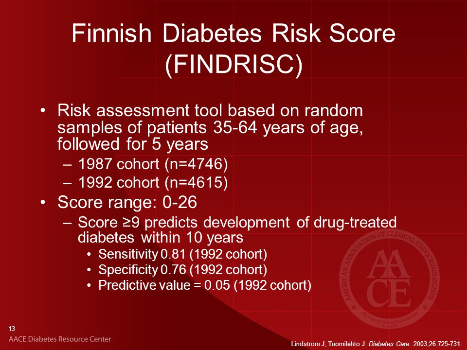 13 Finnish Diabetes Risk Score (FINDRISC) Risk assessment tool based on random samples of patients 35-64 years of age, followed for 5 years –1987 cohort (n=4746) –1992 cohort (n=4615) Score range: 0-26 –Score ≥9 predicts development of drug-treated diabetes within 10 years Sensitivity 0.81 (1992 cohort) Specificity 0.76 (1992 cohort) Predictive value = 0.05 (1992 cohort) Lindstrom J, Tuomilehto J.