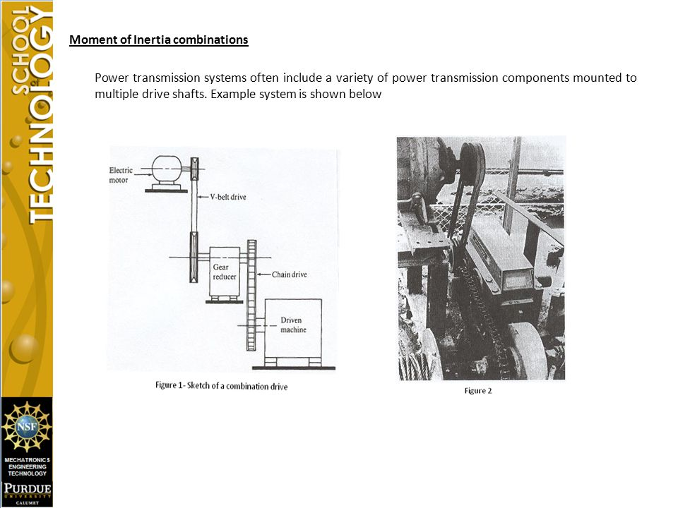 Moment of Inertia combinations Power transmission systems often include a variety of power transmission components mounted to multiple drive shafts. E