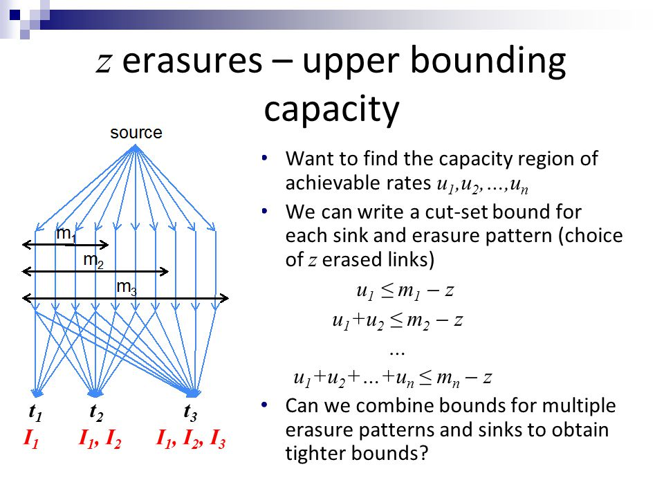 z erasures – upper bounding capacity Want to find the capacity region of achievable rates u 1,u 2,…,u n We can write a cut-set bound for each sink and