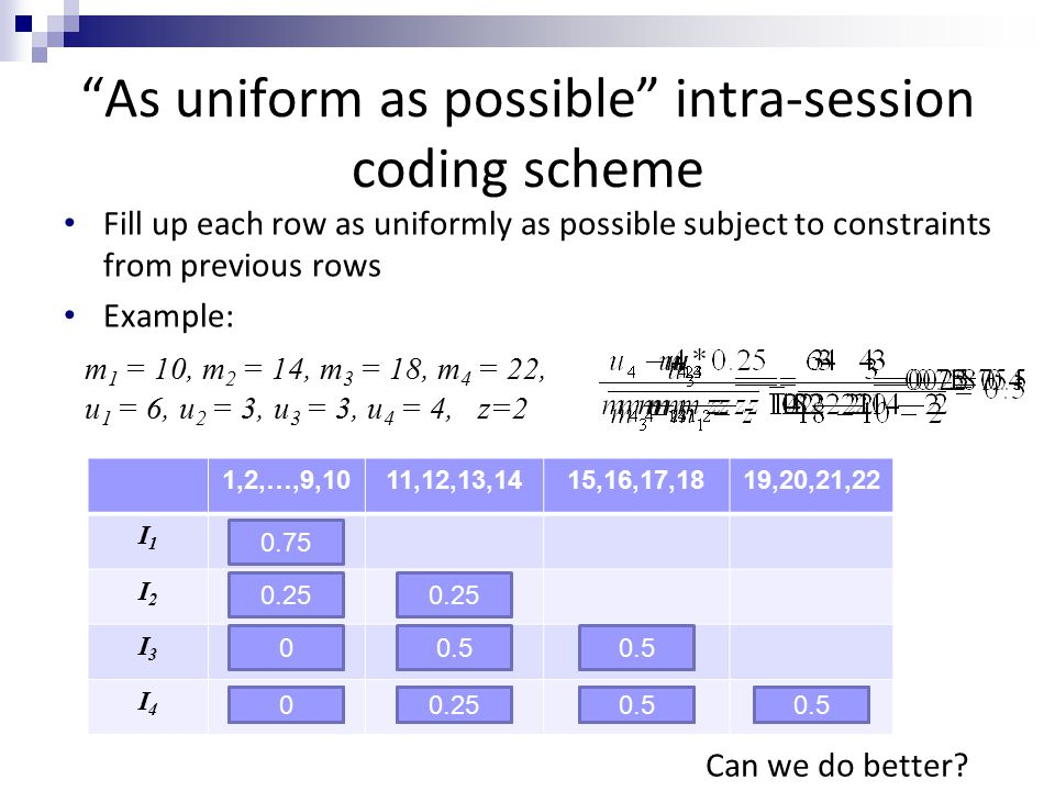 1,2,…,9,1011,12,13,1415,16,17,1819,20,21,22 I1I1 I2I2 I3I3 I4I4 0.20.4 0 As uniform as possible intra-session coding scheme 0.75 0.1875 0.25 0.1875 0.2 0.5 0 0.25 0.50.250 m 1 = 10, m 2 = 14, m 3 = 18, m 4 = 22, u 1 = 6, u 2 = 3, u 3 = 3, u 4 = 4, z=2 Fill up each row as uniformly as possible subject to constraints from previous rows Example: Can we do better