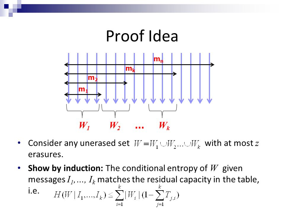Proof Idea m1m1 m2m2 mkmk mnmn W1W1 W2W2 … WkWk Consider any unerased set with at most z erasures. Show by induction: The conditional entropy of W giv