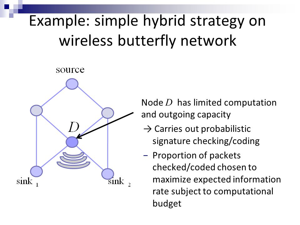 Example: simple hybrid strategy on wireless butterfly network Node D has limited computation and outgoing capacity → Carries out probabilistic signatu