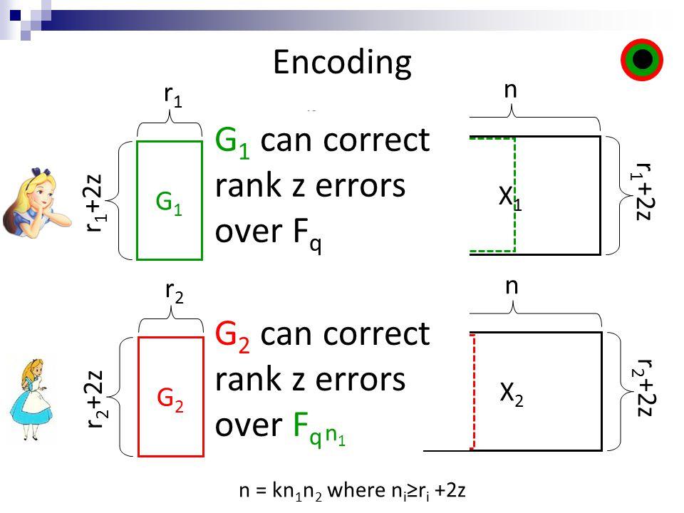 Encoding M1M1 x X1X1 r 1 +2z r1r1 = n n M2M2 G2G2 x X2X2 r2r2 = n n r 2 +2z G 1 can correct rank z errors over F q G 2 can correct rank z errors over F q n1n1 r 2 +2z n = kn 1 n 2 where n i ≥r i +2z G1G1