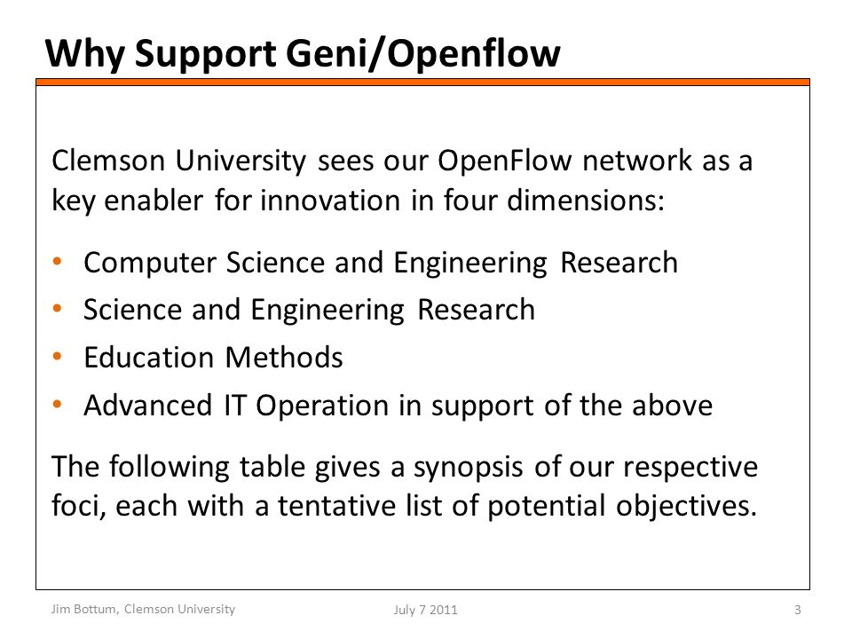 Why Support Geni/Openflow Clemson University sees our OpenFlow network as a key enabler for innovation in four dimensions: Computer Science and Engineering Research Science and Engineering Research Education Methods Advanced IT Operation in support of the above The following table gives a synopsis of our respective foci, each with a tentative list of potential objectives.