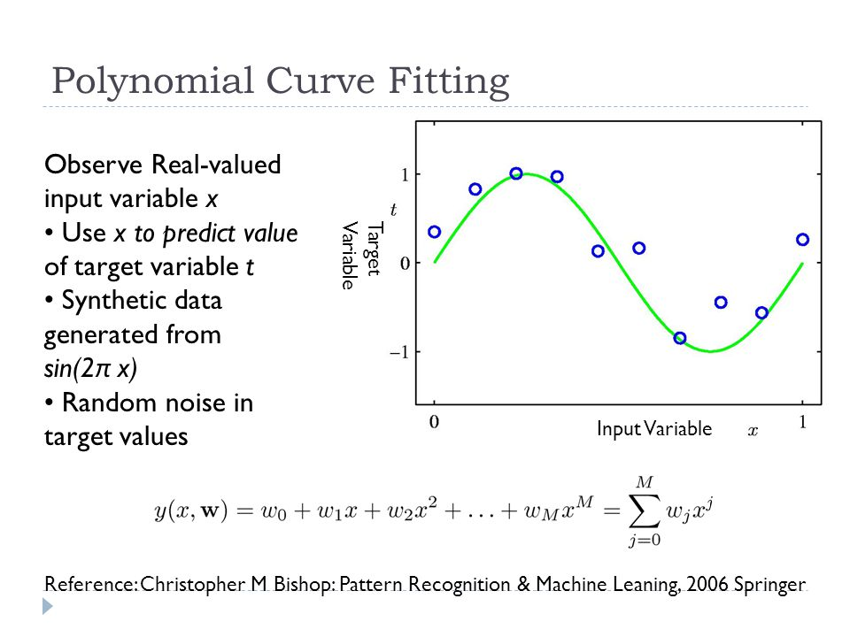 Polynomial Curve Fitting Observe Real-valued input variable x Use x to predict value of target variable t Synthetic data generated from sin(2 π x) Ran