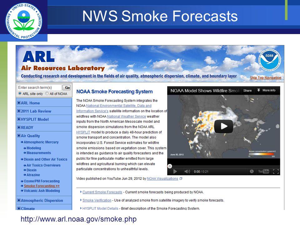 NWS Smoke Forecasts http://www.arl.noaa.gov/smoke.php