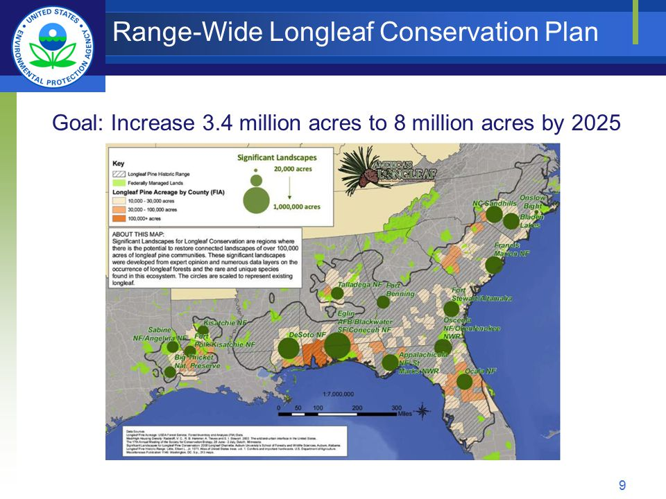 Range-Wide Longleaf Conservation Plan Goal: Increase 3.4 million acres to 8 million acres by 2025 9