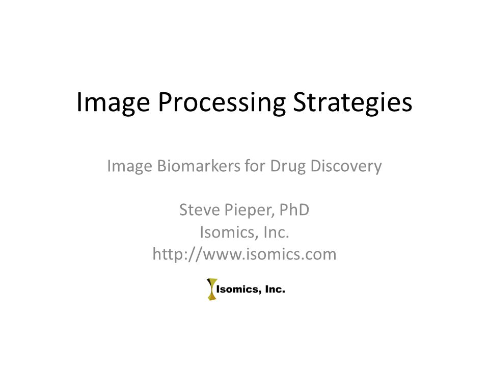 Image Processing Strategies Image Biomarkers for Drug Discovery Steve Pieper, PhD Isomics, Inc. http://www.isomics.com