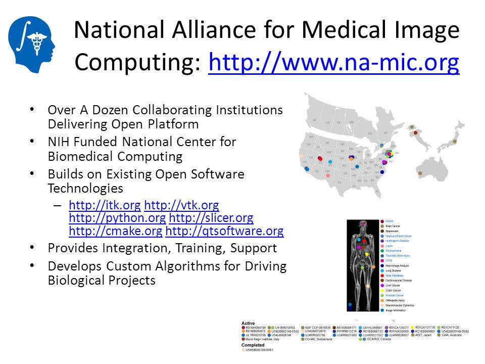 National Alliance for Medical Image Computing: http://www.na-mic.orghttp://www.na-mic.org Over A Dozen Collaborating Institutions Delivering Open Plat