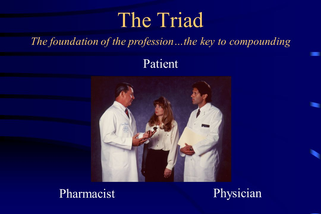 The Triad Patient Physician Pharmacist The foundation of the profession…the key to compounding