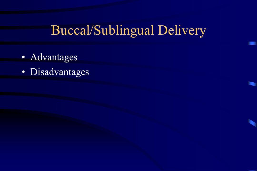 Buccal/Sublingual Delivery Advantages Disadvantages