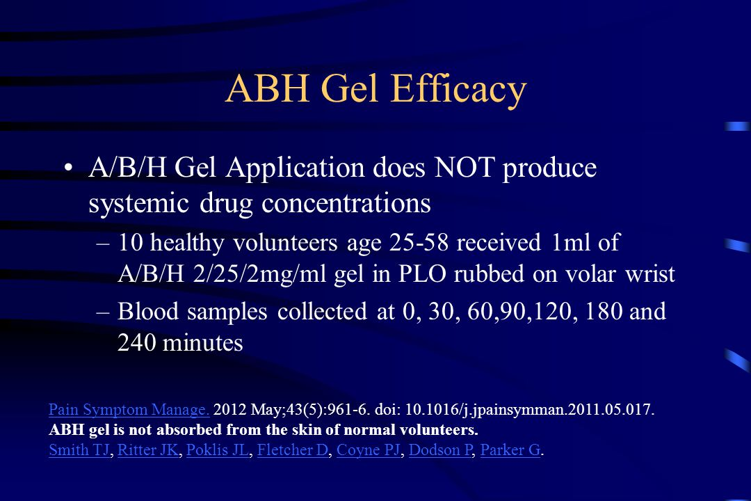 ABH Gel Efficacy A/B/H Gel Application does NOT produce systemic drug concentrations –10 healthy volunteers age 25-58 received 1ml of A/B/H 2/25/2mg/ml gel in PLO rubbed on volar wrist –Blood samples collected at 0, 30, 60,90,120, 180 and 240 minutes Pain Symptom Manage.Pain Symptom Manage.