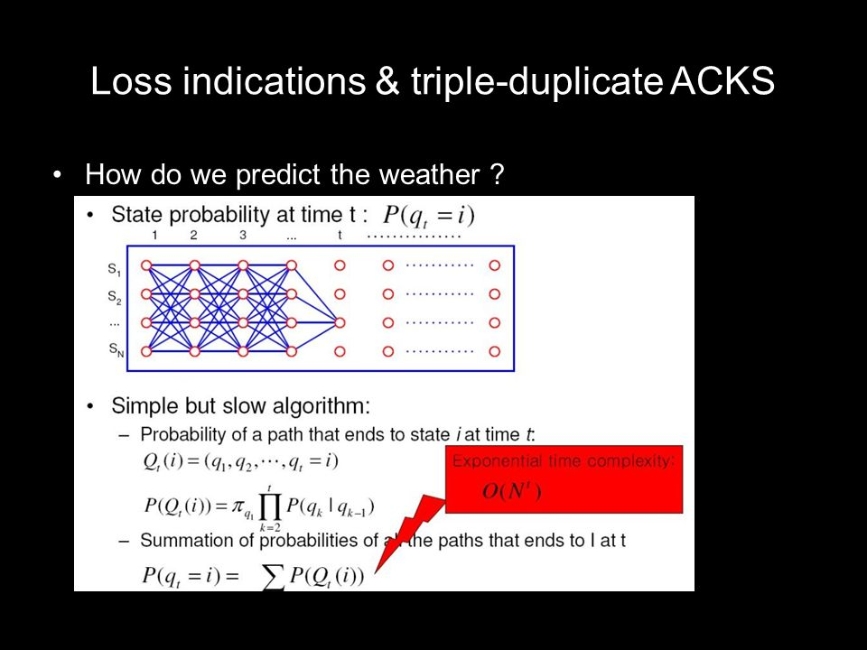 Loss indications & triple-duplicate ACKS How do we predict the weather ?