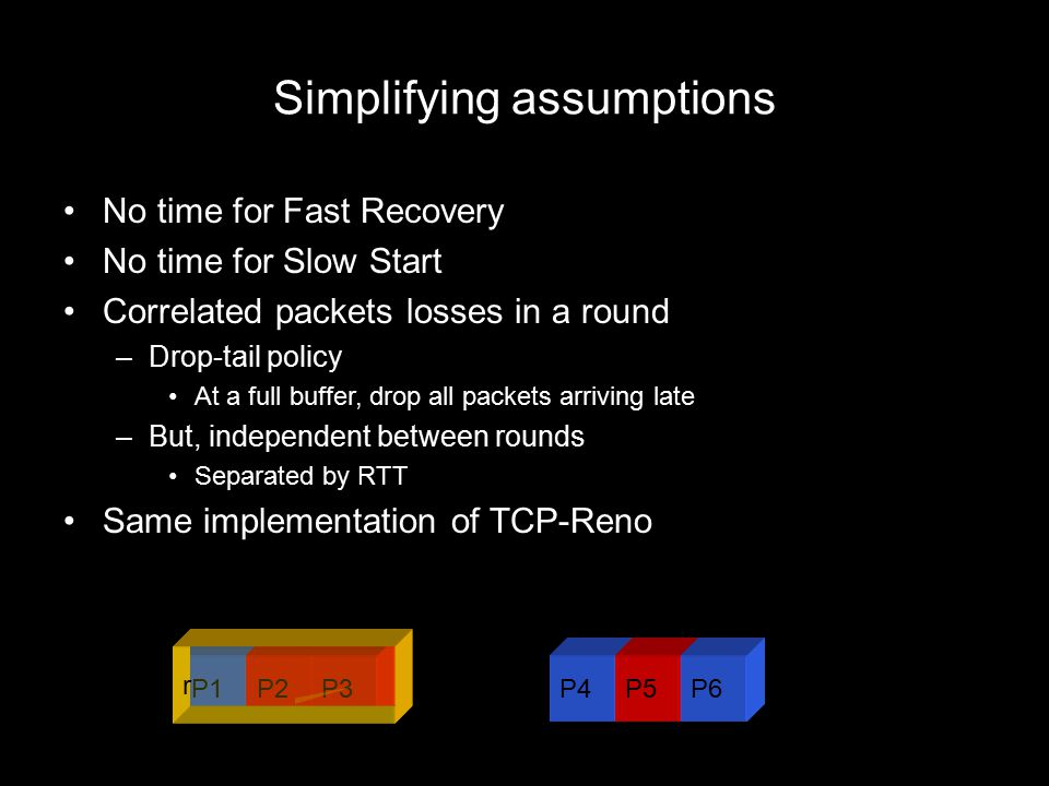 Simplifying assumptions No time for Fast Recovery No time for Slow Start Correlated packets losses in a round –Drop-tail policy At a full buffer, drop