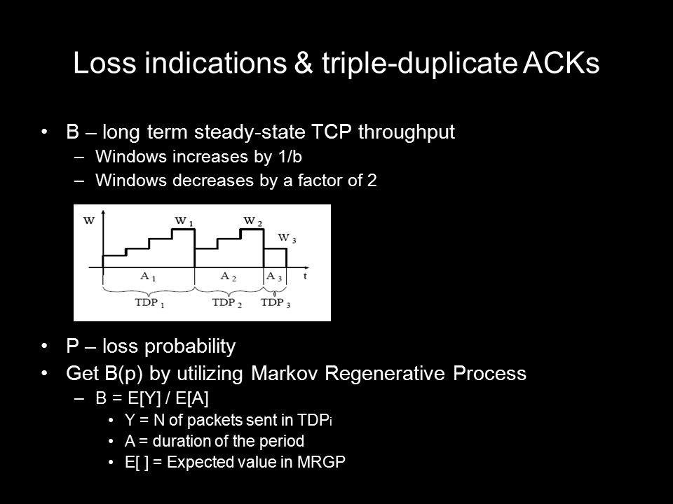 Loss indications & triple-duplicate ACKs B – long term steady-state TCP throughput –Windows increases by 1/b –Windows decreases by a factor of 2 P – l