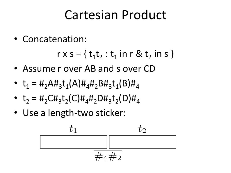 Cartesian Product Concatenation: r x s = { t 1 t 2 : t 1 in r & t 2 in s } Assume r over AB and s over CD t 1 = # 2 A# 3 t 1 (A)# 4 # 2 B# 3 t 1 (B)# 4 t 2 = # 2 C# 3 t 2 (C)# 4 # 2 D# 3 t 2 (D)# 4 Use a length-two sticker: