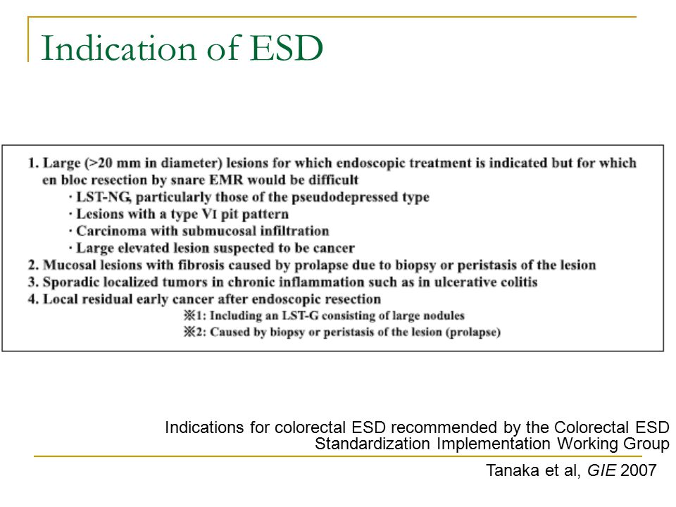 Indication of ESD Tanaka et al, GIE 2007 Indications for colorectal ESD recommended by the Colorectal ESD Standardization Implementation Working Group