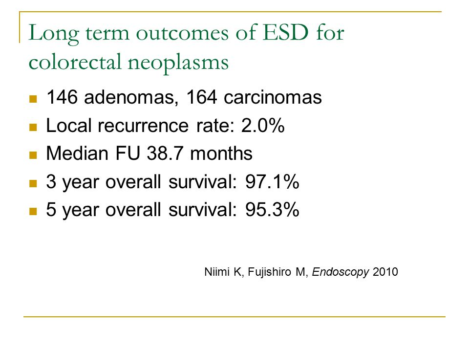 Long term outcomes of ESD for colorectal neoplasms 146 adenomas, 164 carcinomas Local recurrence rate: 2.0% Median FU 38.7 months 3 year overall survival: 97.1% 5 year overall survival: 95.3% Niimi K, Fujishiro M, Endoscopy 2010