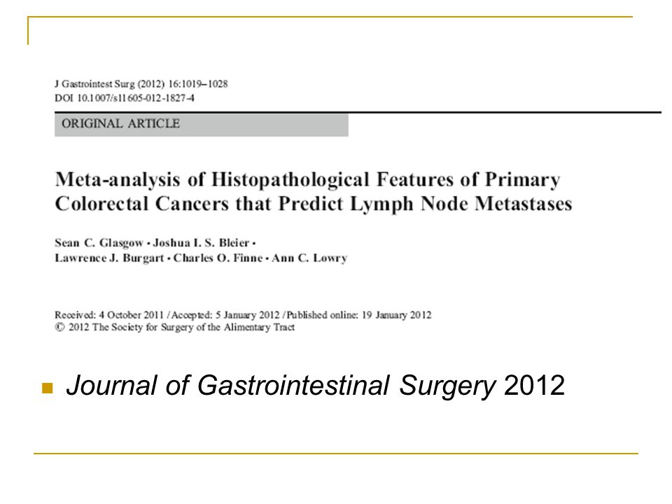 Journal of Gastrointestinal Surgery 2012