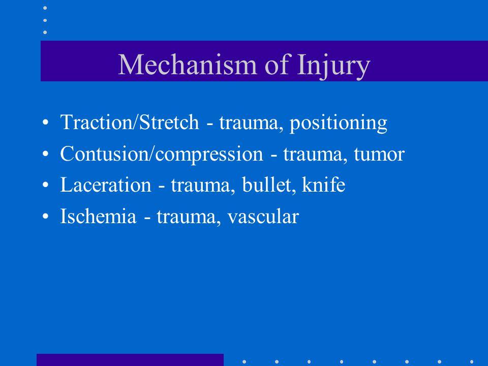Mechanism of Injury Traction/Stretch - trauma, positioning Contusion/compression - trauma, tumor Laceration - trauma, bullet, knife Ischemia - trauma,
