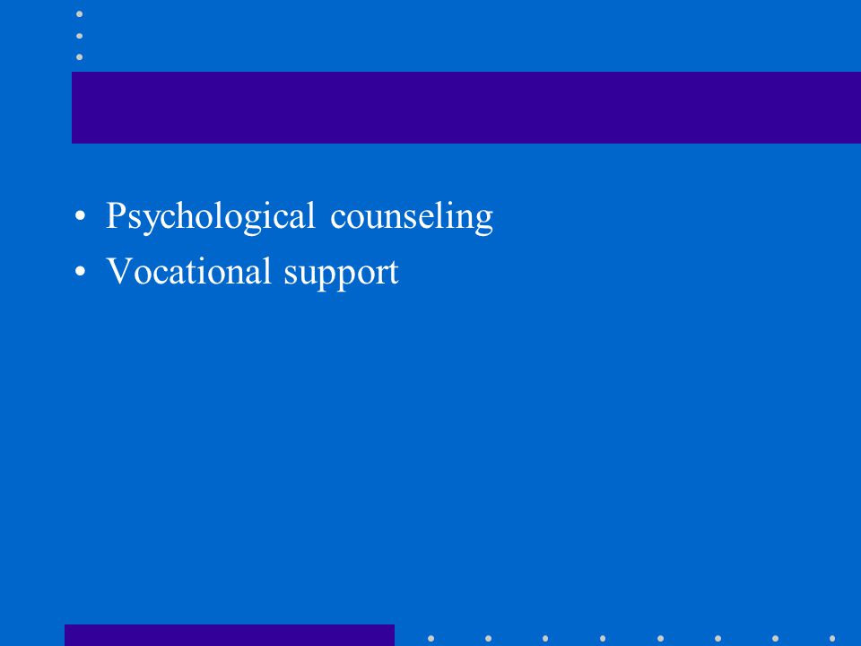 Psychological counseling Vocational support