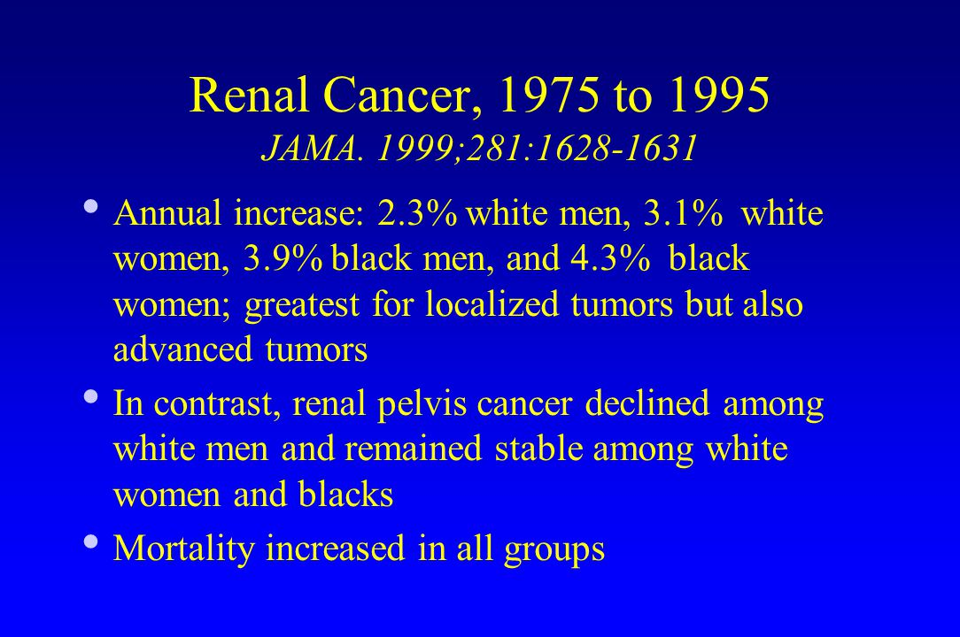 Renal Cancer, 1975 to 1995 JAMA.