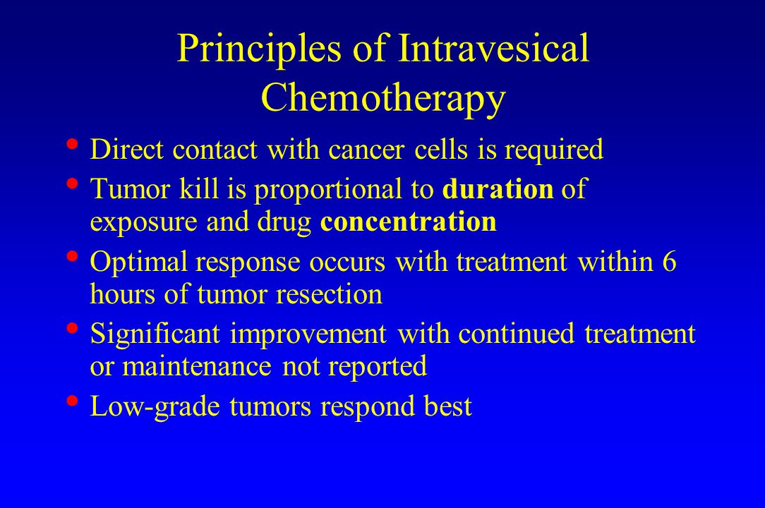 Principles of Intravesical Chemotherapy Direct contact with cancer cells is required Tumor kill is proportional to duration of exposure and drug concentration Optimal response occurs with treatment within 6 hours of tumor resection Significant improvement with continued treatment or maintenance not reported Low-grade tumors respond best