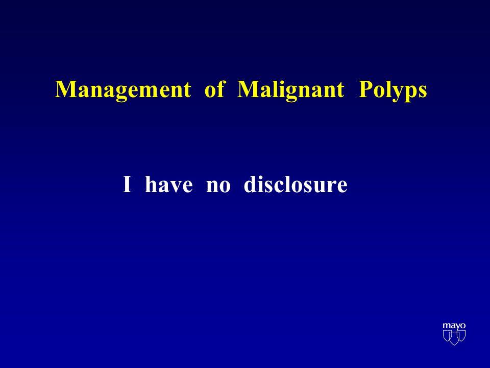 Sessile Malignant Polyp Independent Risk Factors Factor Odds ratio 95% CI p LVI 3.5 1.4-8.9 0.009 Sm3 5.0 2.3-10.6 <0.001 Lower 1/3 R 6.0 2.2-14.2 <0.001 Nascimbeni R et al DCR 2002;45:200
