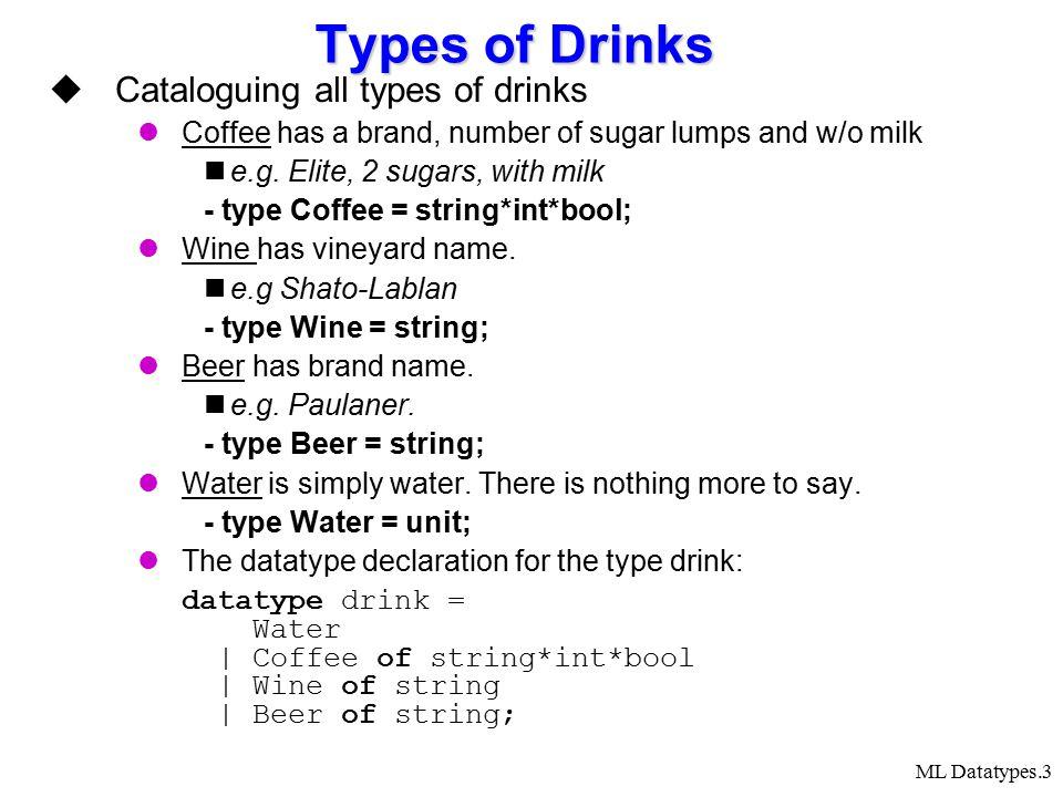 ML Datatypes.14 Question from a test (2004) שאלה 1 סעיף א נתון: datatype ( a, b) union = type1 of a | type2 of b; נכתוב פונקציה חד-חד-ערכית foo ב-ML שהטיפוס שלה הוא: ( unit, (bool-> a) * (bool-> b) ) union -> ( unit, ( (bool,bool) union -> ( a, b) union ) ) union להלן הגדרת הפונקציה.