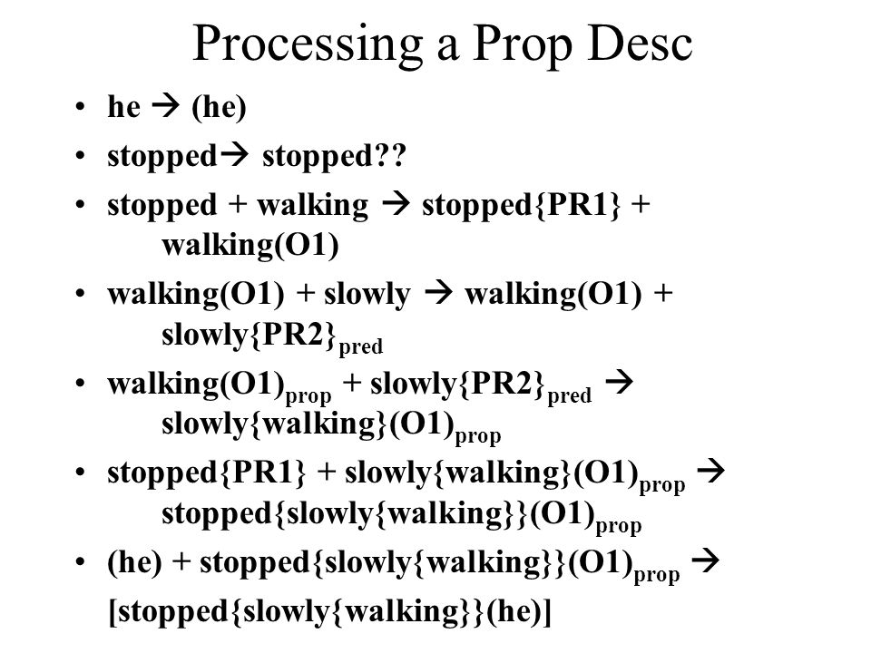 Processing a Prop Desc he  (he) stopped  stopped?? stopped + walking  stopped{PR1} + walking(O1) walking(O1) + slowly  walking(O1) + slowly{PR2} p