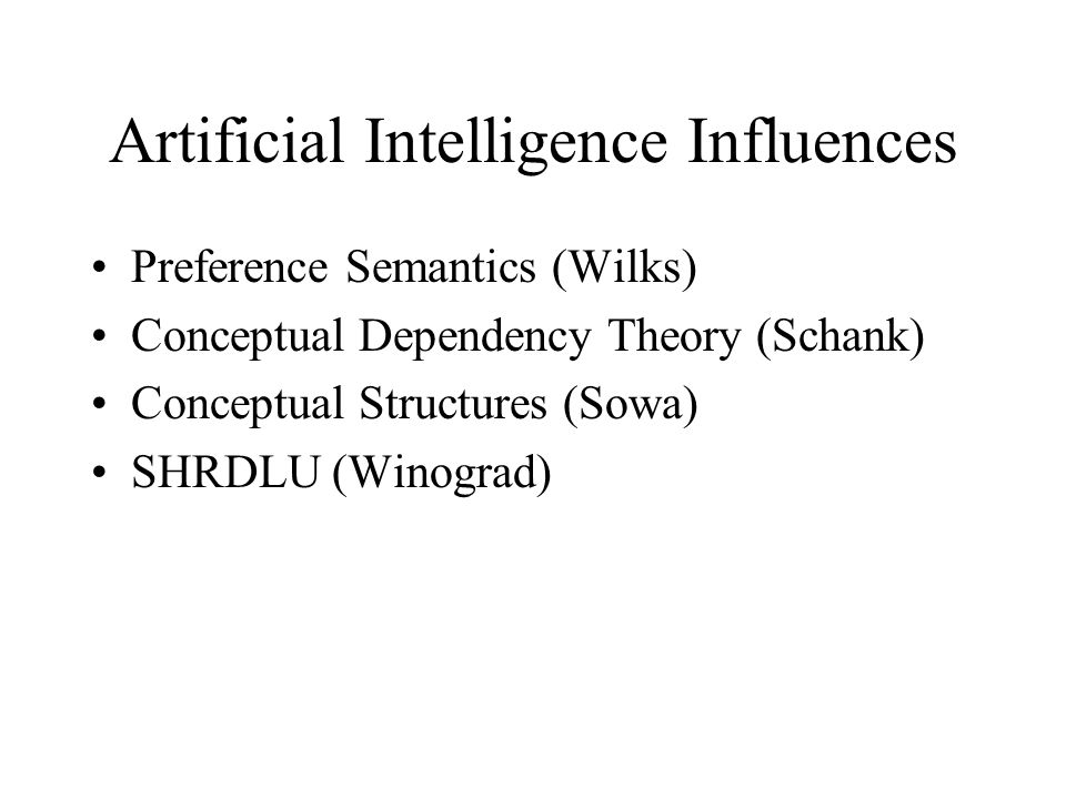 Artificial Intelligence Influences Preference Semantics (Wilks) Conceptual Dependency Theory (Schank) Conceptual Structures (Sowa) SHRDLU (Winograd)