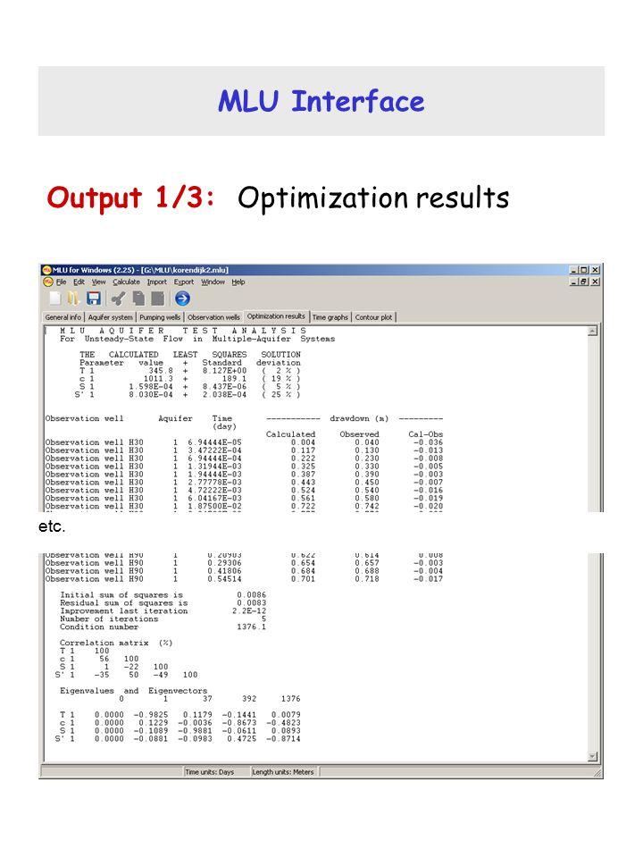 MLU Interface Output 1/3: Optimization results etc.