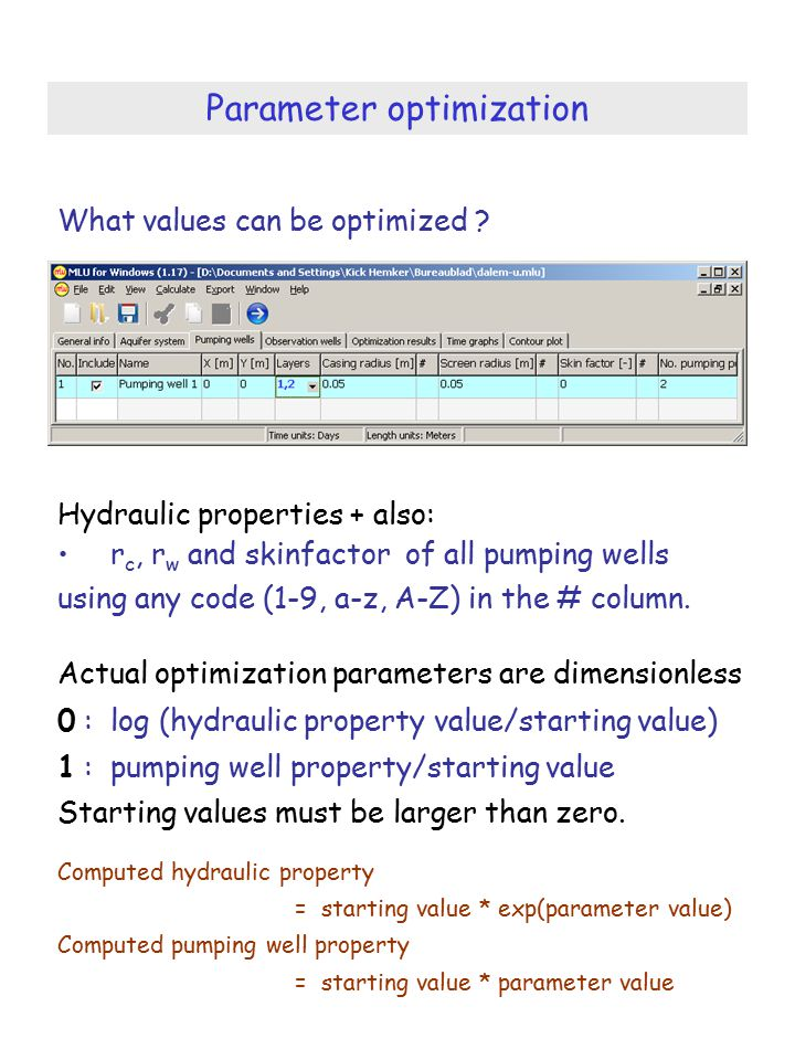 Parameter optimization What values can be optimized .