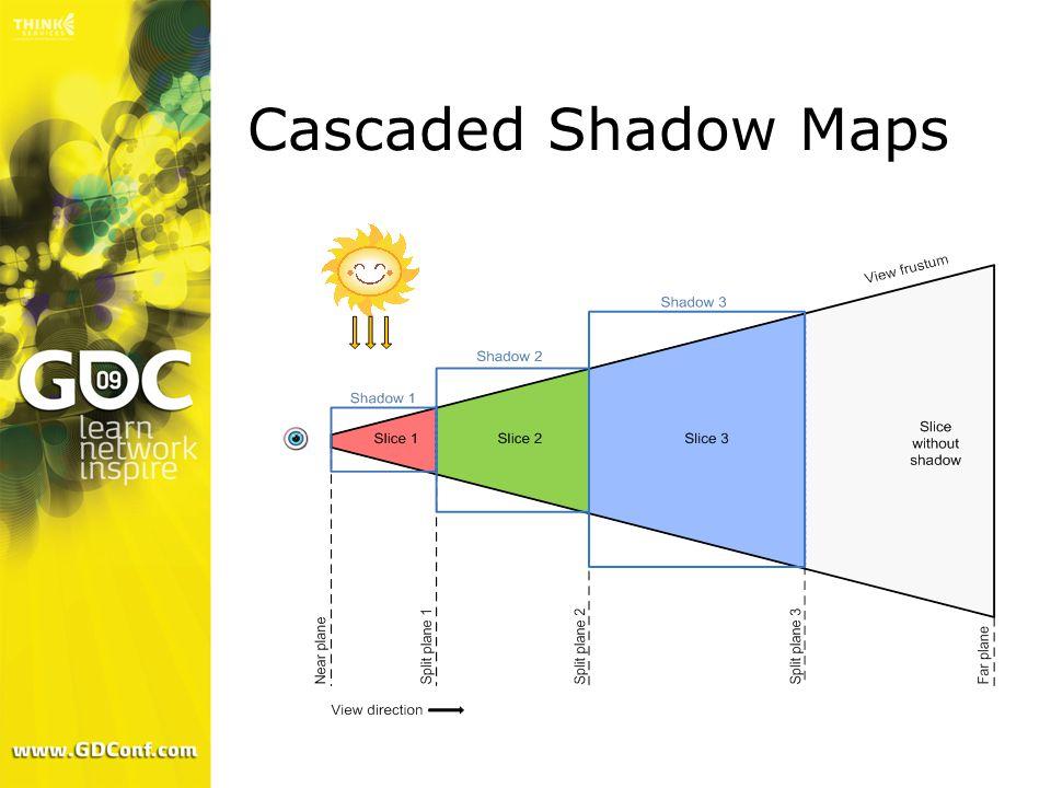 Practical Split Scheme From: Parallel-Split Shadow Maps on Programmable GPUs [1] for (uint sliceIt = 0; sliceIt < sliceCount; sliceIt++) { float f = float(sliceIt+1)/sliceCount; float logDistance = nearPlane * pow(shadowDistance/nearPlane, f); float uniformDistance = nearPlane + (shadowDistance - nearPlane) * f; splitDistances[sliceIt] = lerp(uniformDistance, logDistance, weight); }
