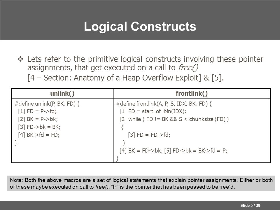 Slide 5 / 38 Logical Constructs  Lets refer to the primitive logical constructs involving these pointer assignments, that get executed on a call to free() [4 – Section: Anatomy of a Heap Overflow Exploit] & [5].