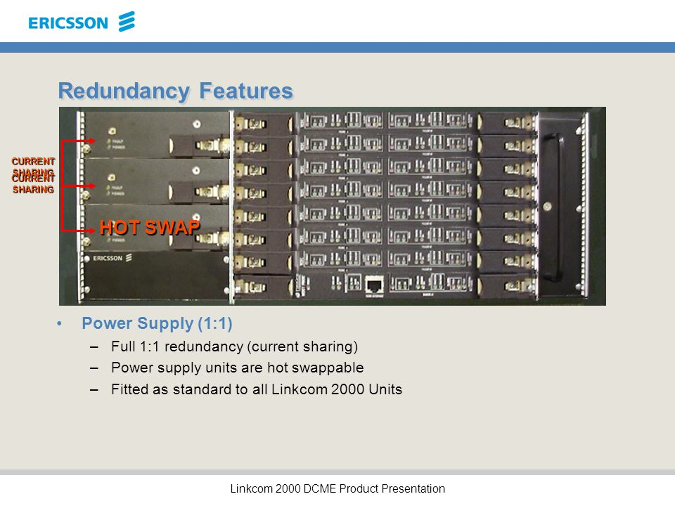 Linkcom 2000 DCME Product Presentation Redundancy Features Power Supply (1:1) –Full 1:1 redundancy (current sharing) –Power supply units are hot swappable –Fitted as standard to all Linkcom 2000 Units FAULT CURRENT SHARING HOT SWAP CURRENT SHARING