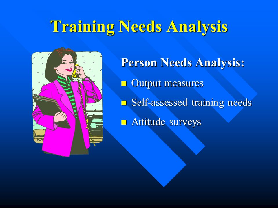 Training Needs Analysis Person Needs Analysis: Output measures Output measures Self-assessed training needs Self-assessed training needs Attitude surv