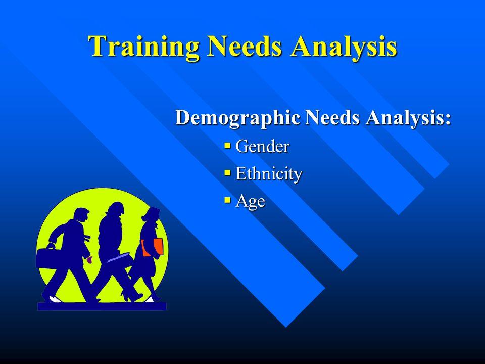 Training Needs Analysis Demographic Needs Analysis:  Gender  Ethnicity  Age