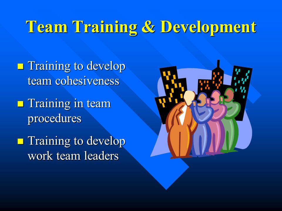 Team Training & Development Training to develop team cohesiveness Training to develop team cohesiveness Training in team procedures Training in team p