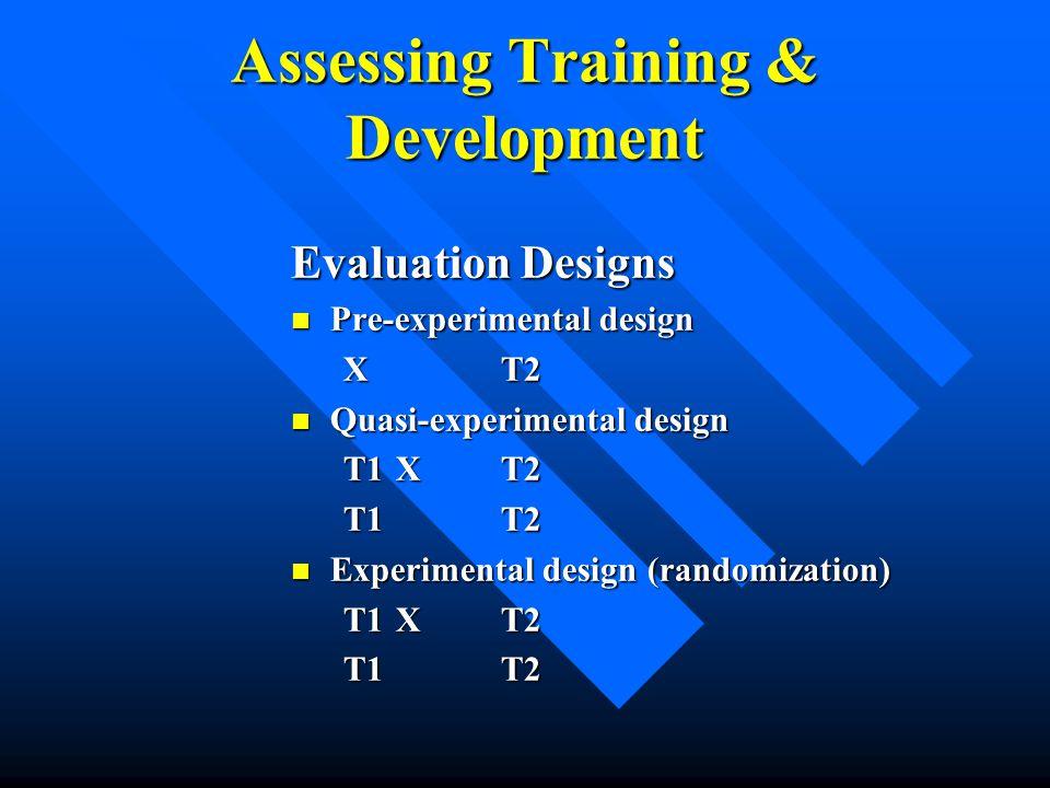 Assessing Training & Development Evaluation Designs Pre-experimental design Pre-experimental design XT2 Quasi-experimental design Quasi-experimental d