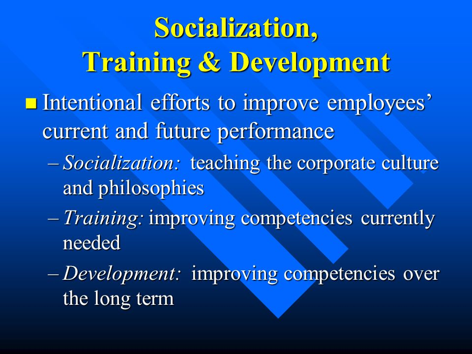 Socialization, Training & Development Intentional efforts to improve employees' current and future performance Intentional efforts to improve employee