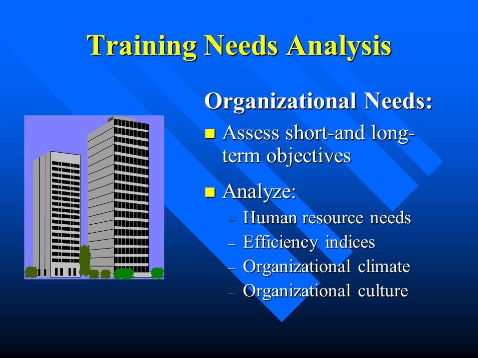 Training Needs Analysis Organizational Needs: Assess short-and long- term objectives Assess short-and long- term objectives Analyze: Analyze: – Human