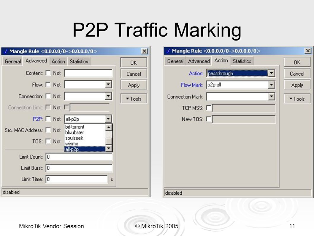 MikroTik Vendor Session© MikroTik 200511 P2P Traffic Marking
